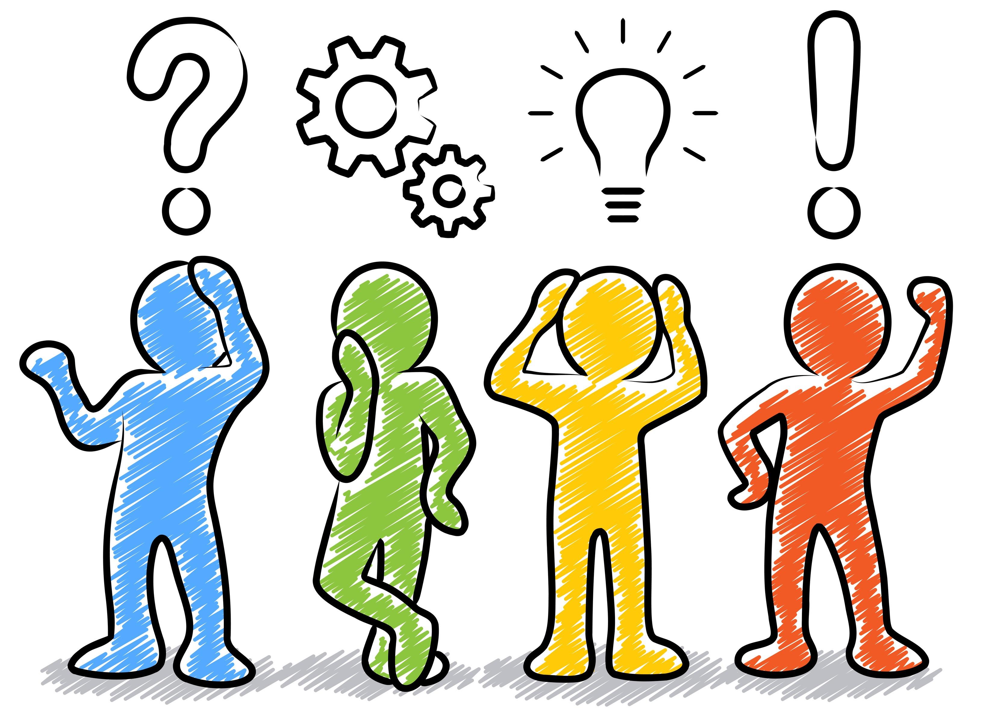 Planungskonzept, Strichmnnchen / Farbig, Bunt / Gezeichnet, Handgezeichnet, Zeichnung, Schraffiert / Design, Vektor, Freigestellt